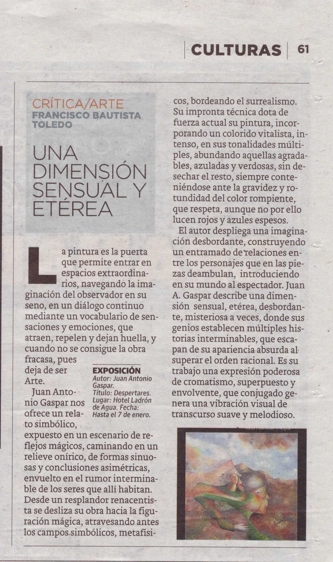 "Art review of Exhibition ""Despertares"""
